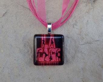Broadway Musical La Cage aux Folles Glass Pendant and Ribbon Necklace