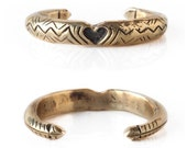 Heart And Arrow Heavy Solid Yellow Bronze Engraved Gold Cuff- Aztec Boho Indie Style Made To Order