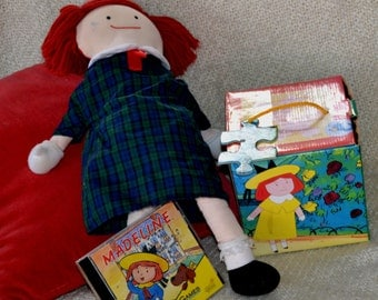 """MADELINE DOLL, 18"""", Excellent Condition, 1 Spot, VINTAGE, With lg.  36 Piece Puzzle Cd Rom  """"Thinking Games"""""""