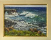 Waves in Santa Cruz - plein air seascape 12x9 original oil painting framed
