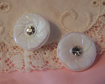 White Glass Buttons with an Aurora Finish and Paste Stone Center - 2