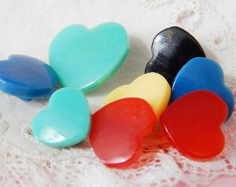 Realistic Heart Buttons - 8 Plastic