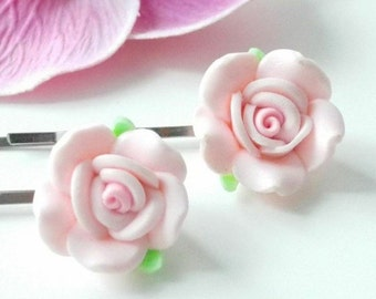 Rose hair pins Pink flower bobby pins Handmade barrettes Floral bridal accessories