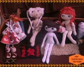 Cloth Doll-PDF pattern-3 hair styles-INSTANT DOWNLOAD