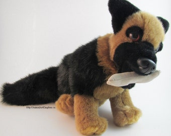 Sitting Dog Plush Stuffed Animal Toy Magnetic Bone in Mouth Three Different Breeds Handmade Canada