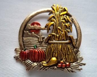 Vintage Signed JJ Antique Gold pewter Harvest Scene Brooch/Pin
