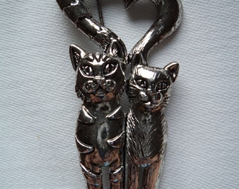 Vintage Signed AJC  Silvertone pewter Cat Couple Brooch/Pin
