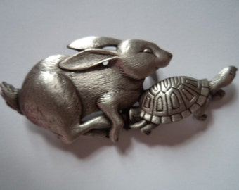 Vintage Signed JJ Silver pewter The Hare and the Tortoise Brooch/Pin