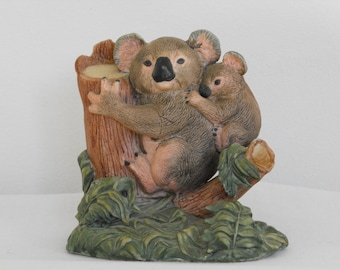 Vintage Ensco Koala Bear and Baby Bear on Tree Stump