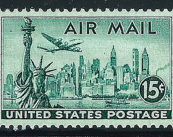 Vintage Unused US Postage Stamp .. 15c New York City Skyline Airmail Stamp Scott# C35 .. Pack of 10