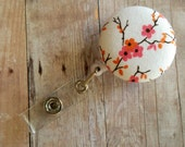 Floral  Retractable Badge Reel ID Holder - White with Pink Cherry Blossom Print Cotton, Quick Ship, Made in USA, Floral Badge Clip