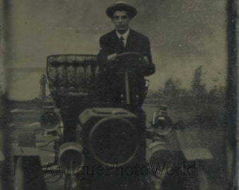 Young man in automobile car antique tintype photo