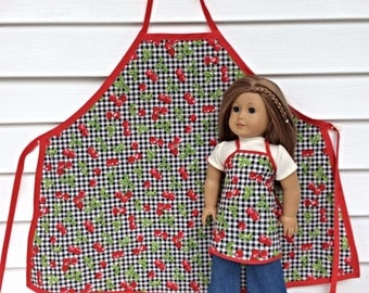 18 Inch Doll and Girl Matching Aprons, Cherry Aprons for A Doll and Her Girl, Girls' Size Medium, 18 Inch Doll Apron