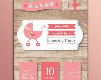 "Printable ""Rustic Girl"" Baby Shower Card - Invitation"