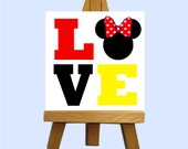 Miss Mouse Love Mini Canvas with Easel - Custom