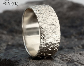 Wide 14k white Gold wedding band, Hammered Wedding Band,Textured ring ,men gold ring ,nature inspired, handmade rustic gold , women band