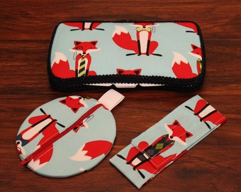 NEW What Does The Fox Say? Travel Wipe Case and Matching Paci Pod, Diaper Bag Must Have