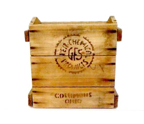 Wooden Crate, Primitive Rustic Industrial Wooden Crate, Chemical Crate, Large Wooden Crate, Wooden Box, Kindling Box, Magazine Rack Holder