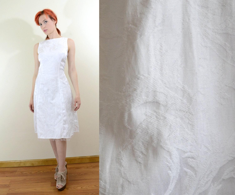 SALE 90s GUNNE SAX Dress White Jacquard A line w Tulle Ruffle