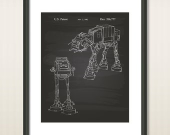 "Star Wars Imperial Walker 1982 Patent Art Illustration - 16""x20"" - 8.5""x11"" - 11""x14"" - Printable INSTANT DOWNLOAD - Get 5 Colors Background"