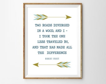 Two Roads Diverged in a Wood - Inspirational Wall Art - Poem Quote by Robert Frost - Printable Decor - Instantly Downloadable Quote Poster