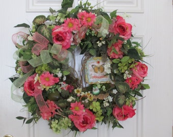 """Home Decor Wreath with Inspirational """"Hope"""" Sign, Spring wreath"""
