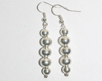 Handmade Pierced Earrings Silver Tone Beads - MB258-S