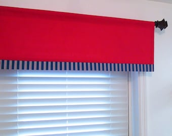 Banded Window Valance Red White Blue Curtain With Striped Border Handmade  In The USA
