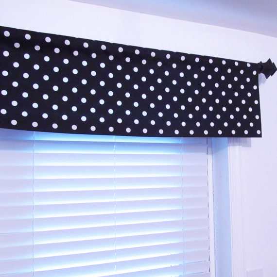 NAVY BLUE White Polka Dots Curtain Valance by Old Station Handmade in ...