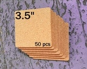 """3.5 Inch SQUARE Blank Cork Coasters, 1/8"""" Thick, 50-pack"""