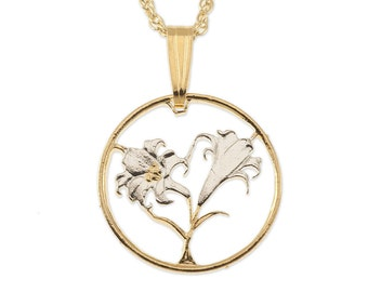 "Easter Lily Pendant and Necklace, Bermuda 10 cents Coin Hand Cut, 14 Karat Gold and Rhodium Plated .75"" in Diameter, ( # 35 )"