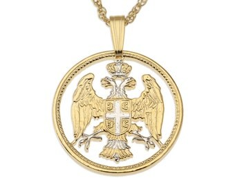 """Serbian Eagle Pendant and Necklace, Serbian 20 Para Eagle coin Hand Cut, 14 Karat Gold and Rhodium plated, 7/8"""" in Diameter, ( # 305 )"""