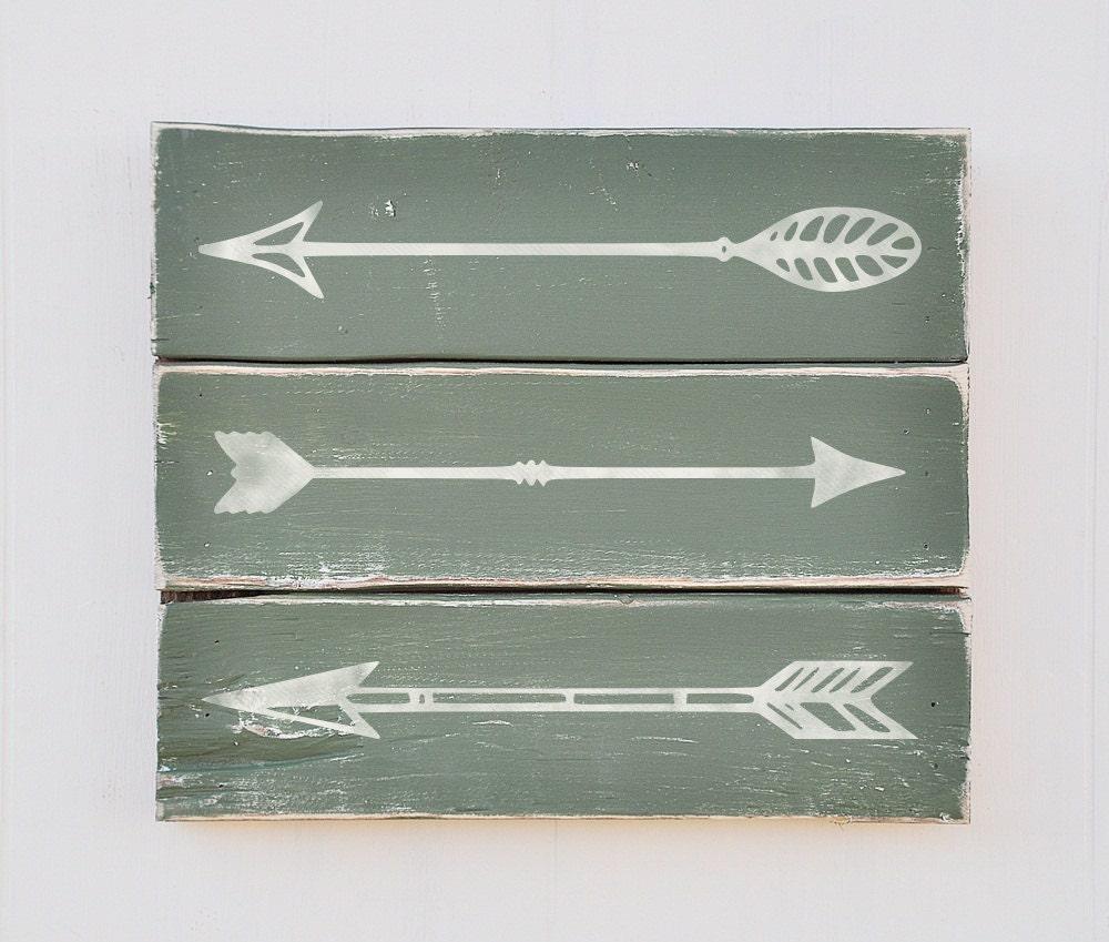 Grey Arrow Wall Decor : Rustic arrow wall decor shabby chic plank style wood sign