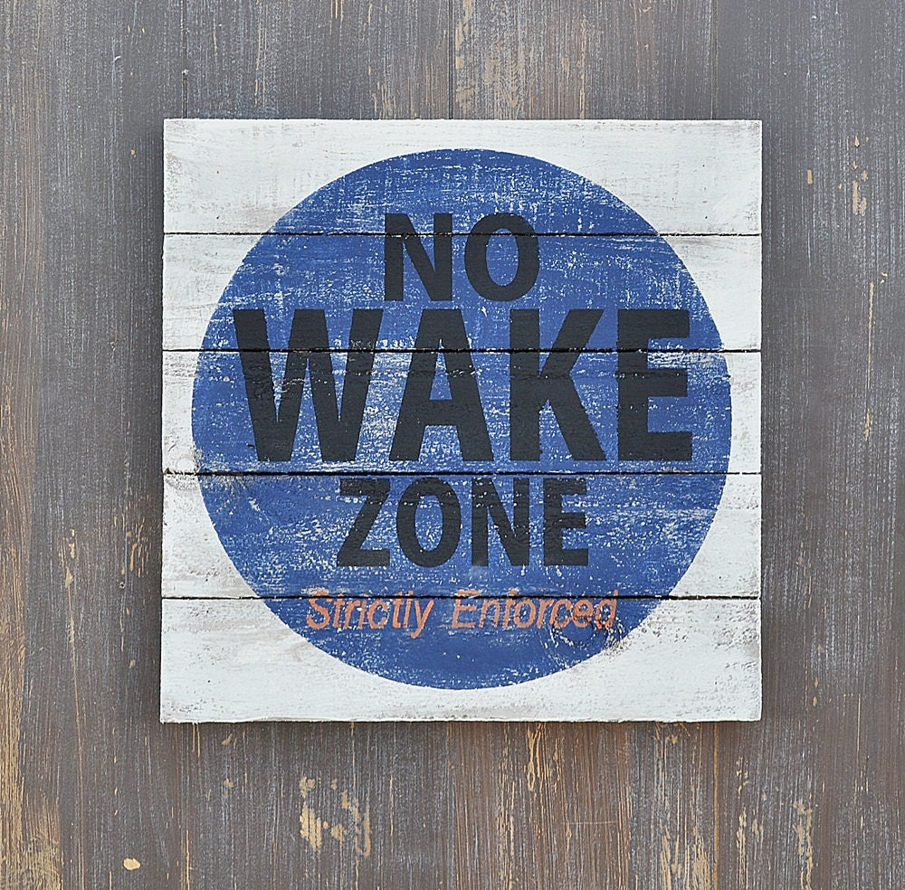 Navy no wake zone lake house decor coastal or beach house for Decor zone homes