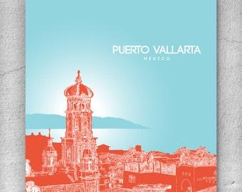 Puerto Vallarta Mexico Skyline Art Poster / Home, Office, Nursery Art Poster / Any City or Landmark