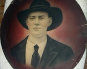 Man with Wide Black Cowboy Hat Antique Hand Colored Pastel Chalk Photograph Drawing No frame Home Decor Studio Picture Wall hanging