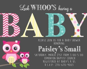 Owl Baby Shower Printable Invitation
