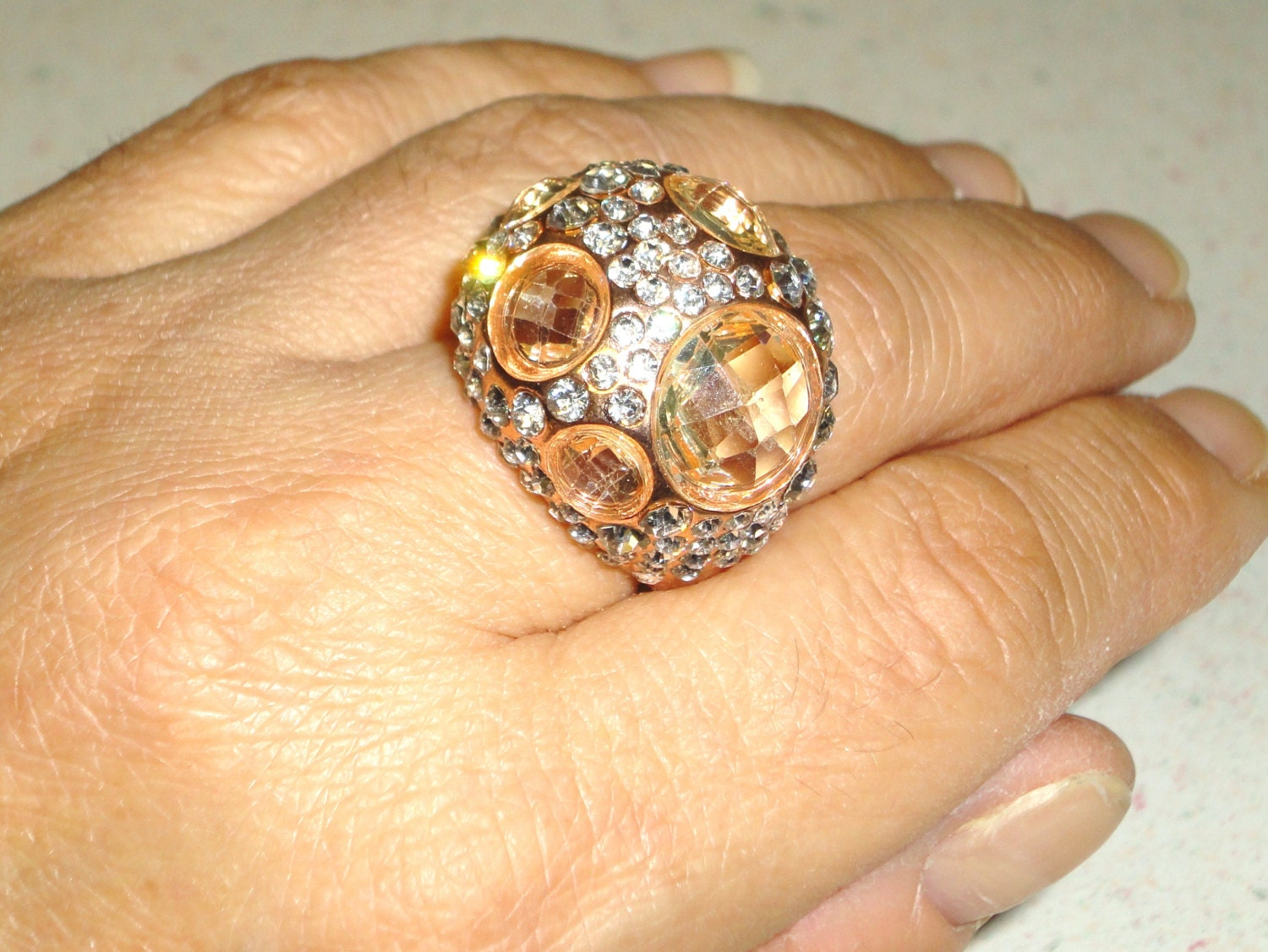 Chunky Rhinestone Peach Colored Stones Ring Size 8 Rose Gold