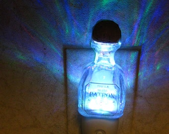 Patron Silver Tequila Color Changing Glass Night Light