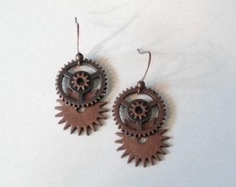 Steampunk  Earrings Copper Gears