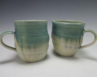 Pair of handmade, stoneware coffee mugs, tea cups
