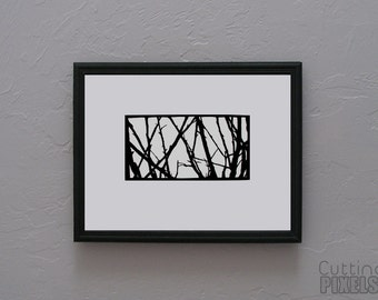 Spindly Branches Hand cut paper art black silhouette paper cutting