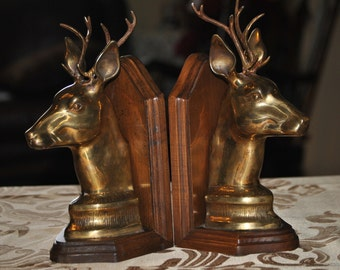 Vintage Unique Stag Bookends  - Solid Brass Mounted on Walnut