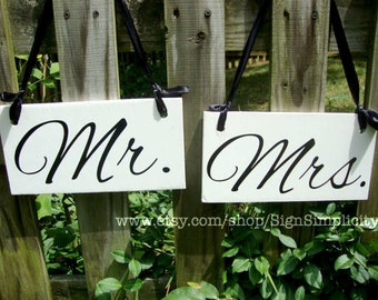Weddings Signs, Mr. and Mrs. Wedding Chair Signs, Hanging Signs, Thank You, Wedding Reception, Bride and Groom, Custom Chair Signs