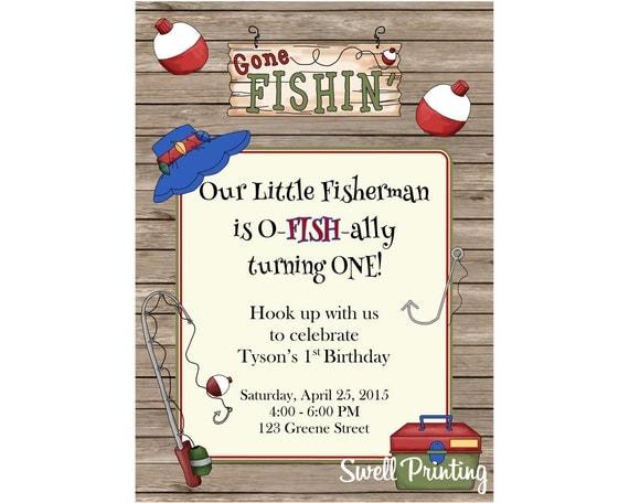 Fishing invitation gone fishing birthday party invitation for Fishing birthday invitations