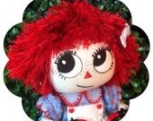 Ooak Raggedy Ann cloth art doll posable 7""