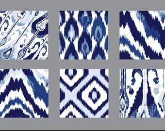 "Set of 6 15""x15"" Abstract IKAT Printable Decorative wall art Decor Prints in Blues, Chevron; Ikat, Boho Chic, Indie"