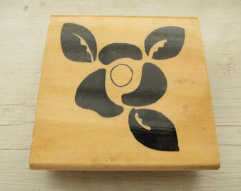 Used Rubber Stamp, Flower Silhouette