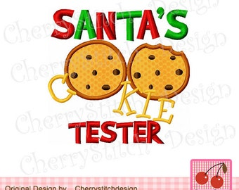 """Christmas  SANTA'S COOKIE TESTER Embroidery Applique -4x4 5x5 6x6"""""""