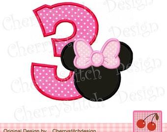 """Minnie number 3 Birthday number Machine embroidery applique desig - 4x4 5x5 6x6"""""""